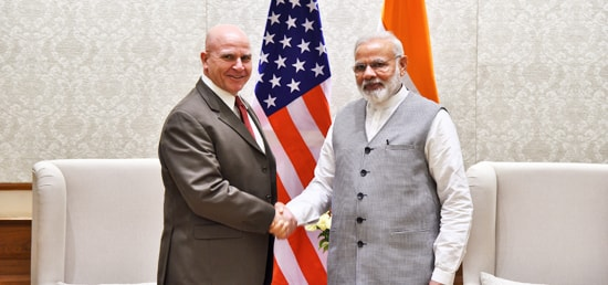 Lt. Gen. H.R. McMaster, NSA of US calls on Prime Minister in New Delhi