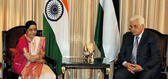 External Affairs Minister calls on Mahmoud Abbas, President of the State of Palestine in New Delhi during his four-day State Visit to India