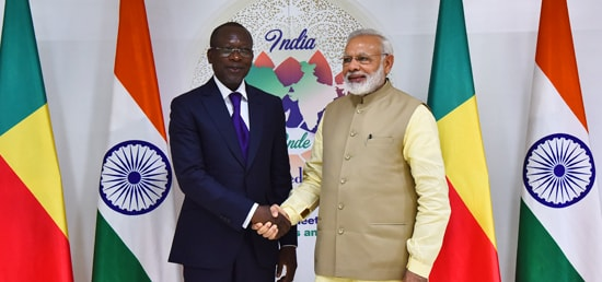Prime Minister meets Patrice Talon, President of Benin on the sidelines of 52nd Annual Meeting of African Development Bank in Gandhinagar