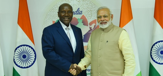 Prime Minister meets Daniel Kablan Duncan, Vice-President of the Republic of Ivory Coast on the sidelines of Annual Meeting of African Development Bank in Gandhinagar