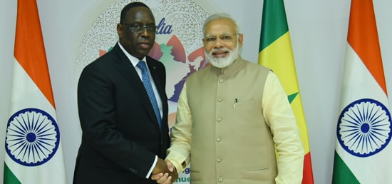 Prime Minister meets Macky Sall, President of the Republic of Senegal​ on the sidelines of Annual Meeting of African Development Bank in Gandhinagar ​