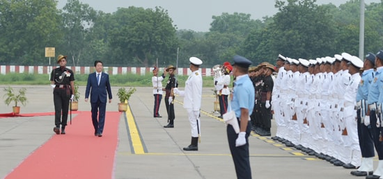 Shinzo Abe, Prime Minister of Japan inspects Guard of Honour on his arrival at Sardar Vallabhbhai Patel International Airport in Ahmedabad