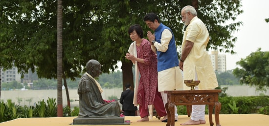 Shinzo Abe, Prime Minister of Japan, his spouse Akie Abe and Prime Minister pay homage to Mahatma Gandhi at Sabarmati Ashram in Ahmedabad