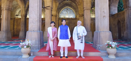 Shinzo Abe, Prime Minister of Japan, his spouse Akie Abe and Prime Minister visit Sidi Saiyyed Mosque in Ahmedabad