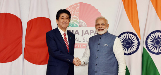 Prime Minister and Shinzo Abe, Prime Minister of Japan arrive to participate in 12th India-Japan Annual Summit at Mahatma Mandir in Gandhinagar