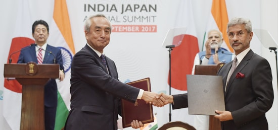 Prime Minister and Shinzo Abe, Prime Minister of Japan witness exchange of Agreements/MoUs in Gandhinagar