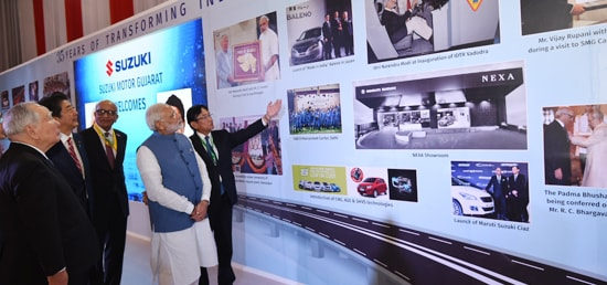 Prime Minister and Shinzo Abe, Prime Minister of Japan visit Exhibition Booths at Mahatma Mandir in Gandhinagar