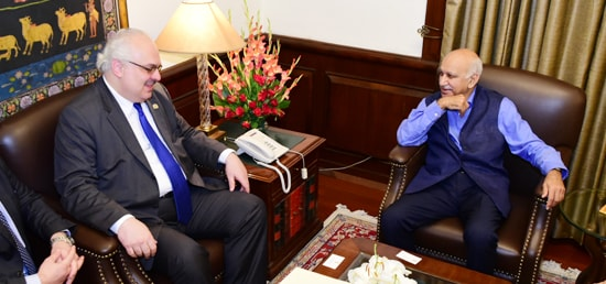 M.J. Akbar, Minister of State for External Affairs meets David Jalagania, Deputy Minister of Foreign Affairs of Georgia in New Delhi
