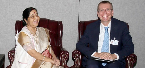External Affairs Minister meets Edgars Rinkēvičs, Minister for Foreign Affairs of Latvia in New York on the sidelines of 72nd Session of UN General Assembly