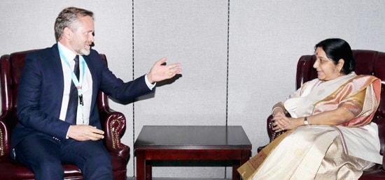 External Affairs Minister meets Anders Samuelsen, Minister for Foreign Affairs of Denmark in New York on the sidelines of 72nd Session of UN General Assembly