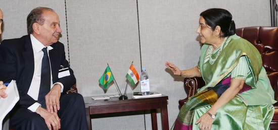 External Affairs Minister meets Aloysio Nunes Ferreira, Minister of Foreign Affairs of Brazil in New York on the sidelines of 72nd Session of UN General Assembly