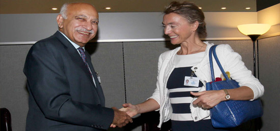 M J Akbar, Minister of State for External Affairs meets Marija Pejčinović Burić , Deputy Prime Minister and Foreign Minister of Croatia on the sidelines of 72nd Session of UNGA in New York