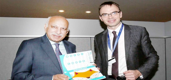M J Akbar, Minister of State for External Affairs meets Sven Mikse, Estonian Foreign Minister on the sidelines of 72nd Session of UNGA in New York