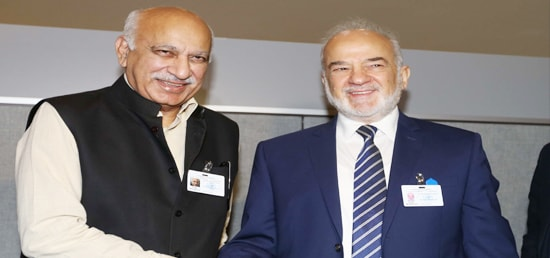 M J Akbar, Minister of State for External Affairs meets Ibrahim al-Eshaiker al-Jaafari , Minister of Foreign Affairs of Iraq, on the sidelines of 72nd Session of UNGA in New York
