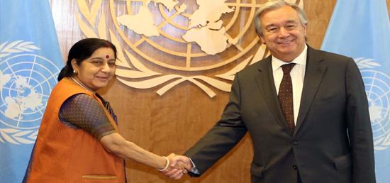 External Affairs Minister meets António Guterres, United Nations' Secretary-General on the sidelines of 72nd Session of UNGA in New York