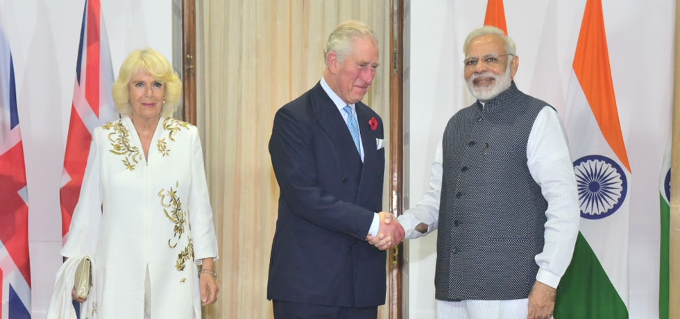 Charles Philip Arthur George, Prince of Wales calls on Prime Minister in New Delhi
