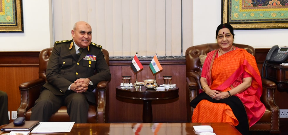External Affairs Minister meets Sedky Sobhy, Defence Minister of Egypt in New Delhi