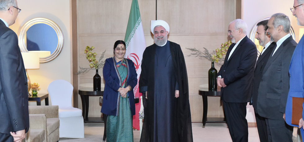 External Affairs Minister calls on Dr. Hassan Rouhani, President of Iran in New Delhi