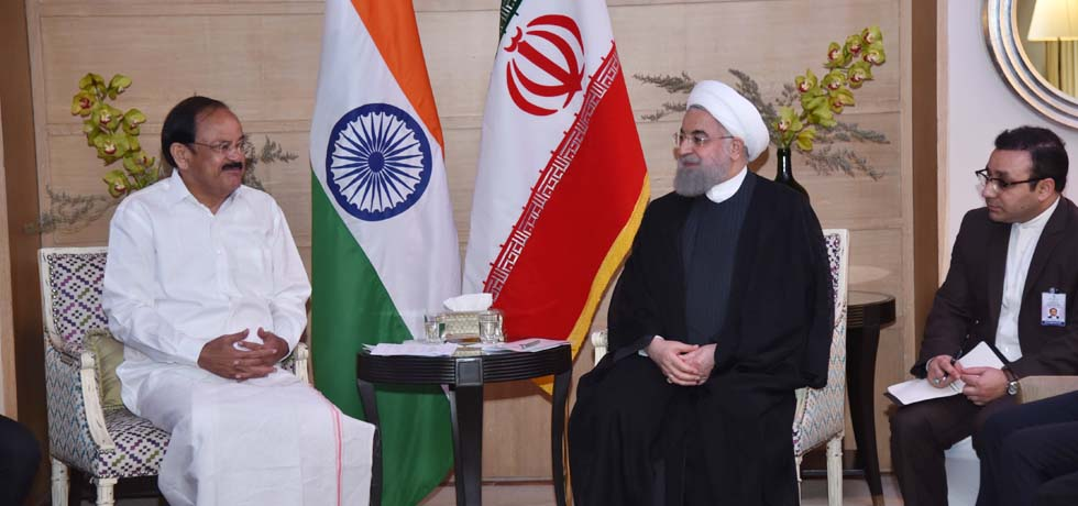 Vice President calls on ​​Dr. Hassan Rouhani, President of Iran during his visit to India