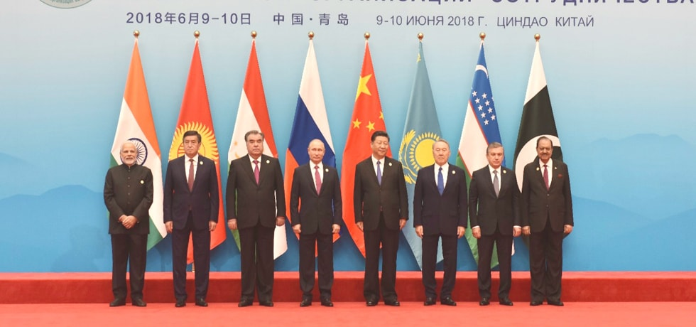 Prime Minister with leaders of SCO Member Nations at SCO Summit 2018 in Qingdao
