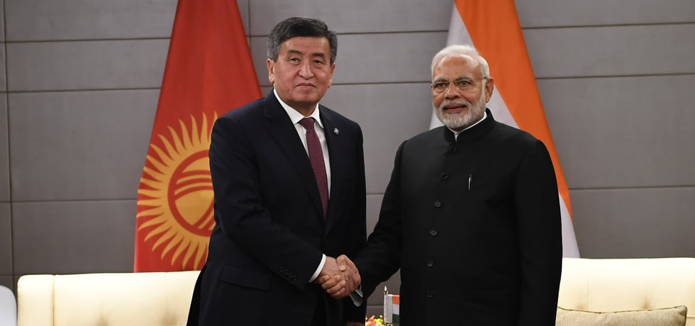 Prime Minister meets Sooronbay Sharipovich Jeenbekov, President of Kyrgyzstan on the sidelines of SCO Summit 2018 in Qingdao