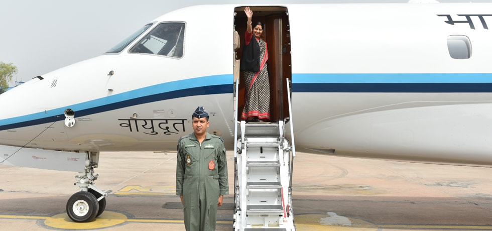 External Affairs Minister departs from New Delhi on her 4-Nation visit to Italy, France, Luxembourg, and Belgium