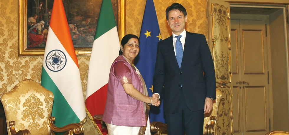 External Affairs Minister calls on Giuseppe Conte, Prime Minister of Italy in Rome