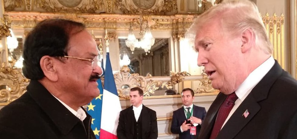 Vice President meets Donald Trump, President of the United States at the Armistice Centenary reception in Paris
