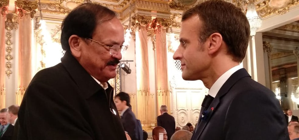 Vice President meets Emmanuel Macron, President of France at the Armistice Centenary reception in Paris