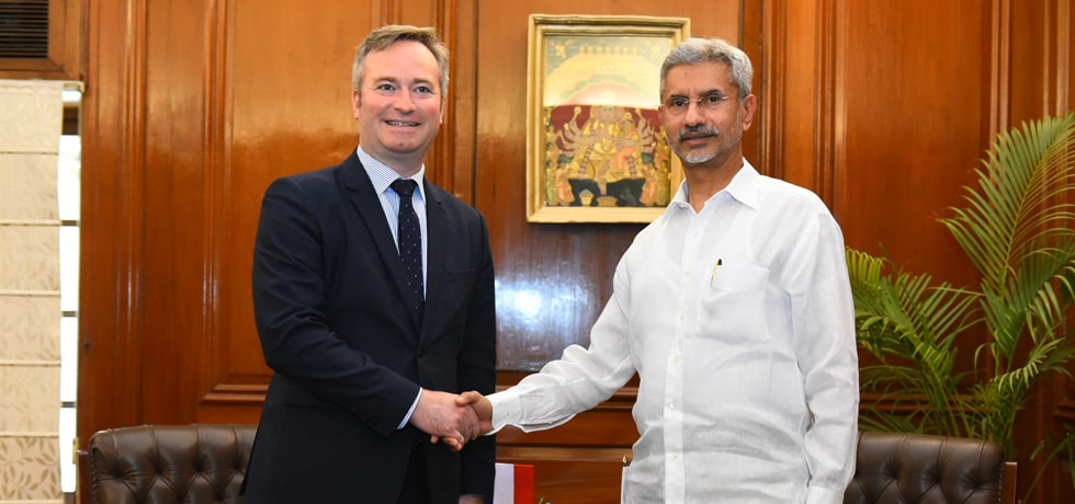 External Affairs Minister meets Jean-Baptiste Lemoyne, Minister of State for Europe and Foreign Affairs of France in New Delhi [ph]Photo Courtesy : Chandan Kumar Shah[/ph]
