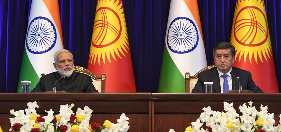 Prime Minister delivers Press Statement during his visit to Kyrgyz Republic in Bishkek