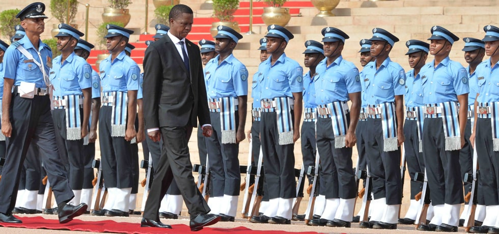 Edgar Chagwa Lungu, President of the Republic of Zambia receive Ceremonial Reception at Rashtrapati Bhawan
