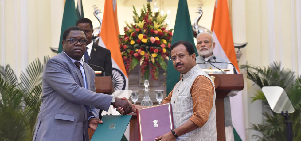 Prime Minister and Edgar Chagwa Lungu, President of Zambia witness Exchange of Agreements between India and Zambia in New Delhi