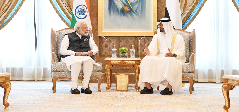 Prime Minister meets Sheikh Mohammed Bin Zayed Al Nahyan, Crown Prince of Abu Dhabi at Presidential Palace in Abu Dhabi, UAE