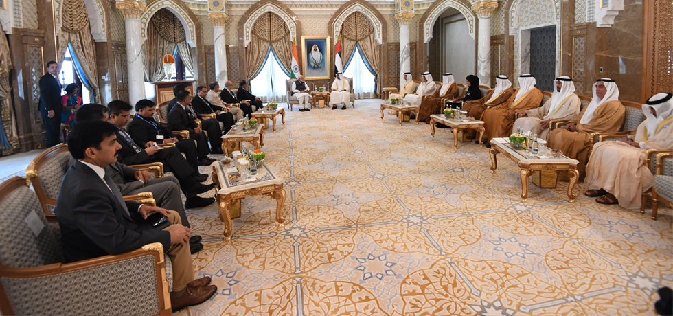 Prime Minister and Sheikh Mohammed Bin Zayed Al Nahyan, Crown Prince of Abu Dhabi hold delegation level talks at Presidential Palace in Abu Dhabi