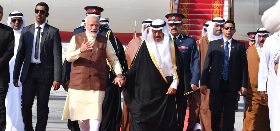 Prime Minister arrives in Bahrain on his third leg of 3-Nation Visit to France, UAE and Bahrain