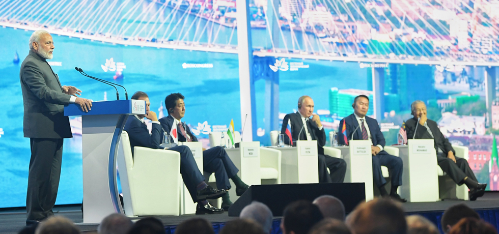 Prime Minister delivers his address at Plenary Session of 5th Eastern Economic Forum in Vladivostok[ph]Photo Courtesy : Lalit Kumar[/ph]