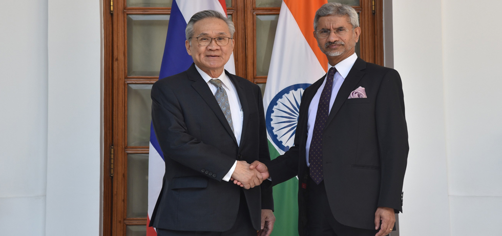 External Affairs Minister meets Don Pramudwinai , Minister of Foreign Affairs of Thailand at Hyderabad House in New Delhi