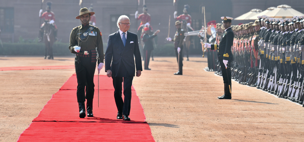 Carl XVI Gustaf, King of Sweden inspects Guard of Honour during Ceremonial Welcome at Rashtrapati Bhawan, New Delhi
