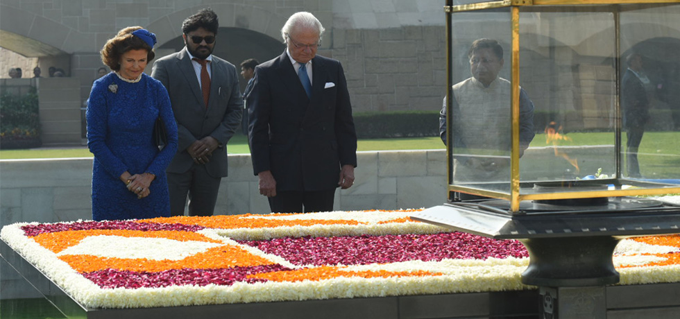King Carl XVI Gustaf and Queen Silvia of Sweden pay floral tribute at the Samadhi of Mahatma Gandhi at Rajghat in New Delhi