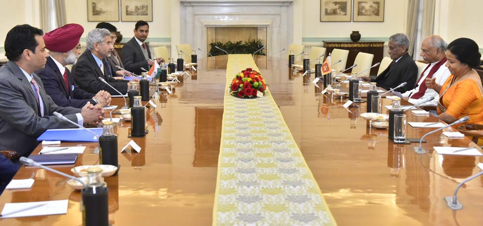 External Affairs Minister meets Dinesh Gunawardena, Minister of Foreign Relations of Sri Lanka at Hyderabad House, New Delhi