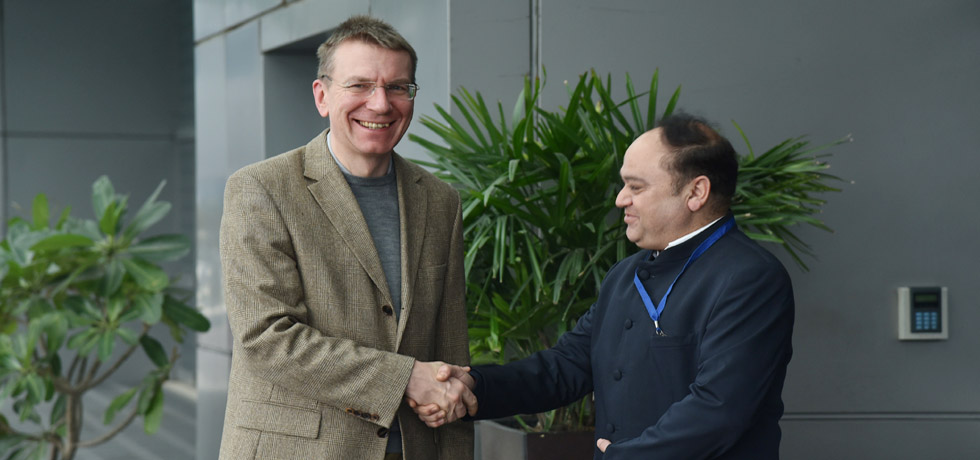 Edgars Rinkevics, Minister of Foreign Affairs of Latvia arrives in New Delhi