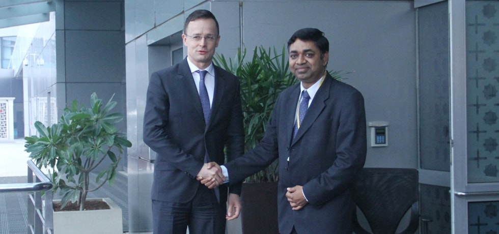 Peter Szijjarto, Minister of Foreign Affairs of Hungary arrives in New Delhi