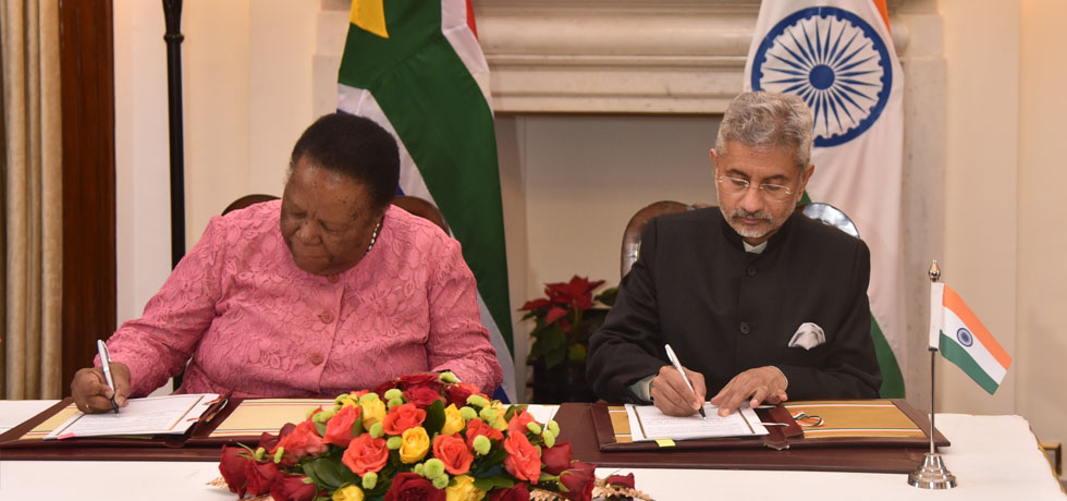 External Affairs Minister and GNM Pandor, Minister of International Relations and Cooperation of South Africa sign agreement during the 10th India-South Africa Joint Ministerial Commission (JMC) in New Delhi.