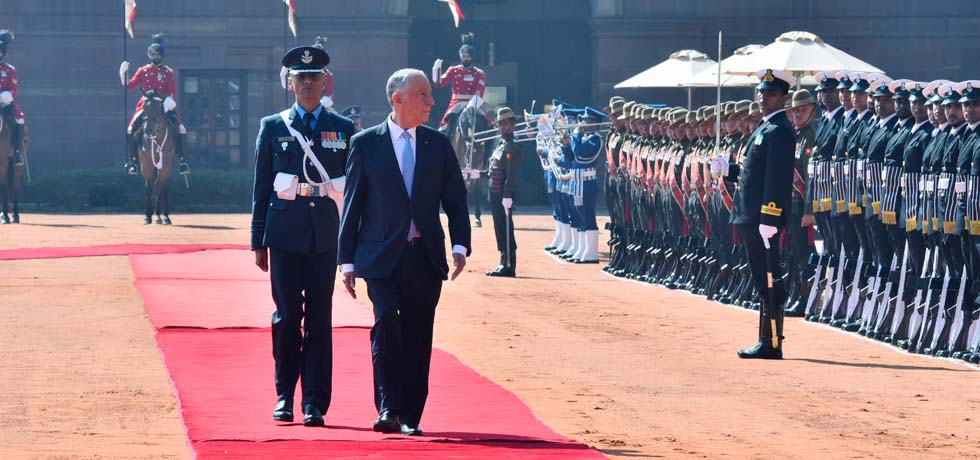 Marcelo Rebelo De Sousa, President of Portugal inspects Guard of Honour during Ceremonial Welcome at Rashtrapati Bhawan, New Delhi[ph]Photo Courtesy: Chandan Kumar Shah[/ph]