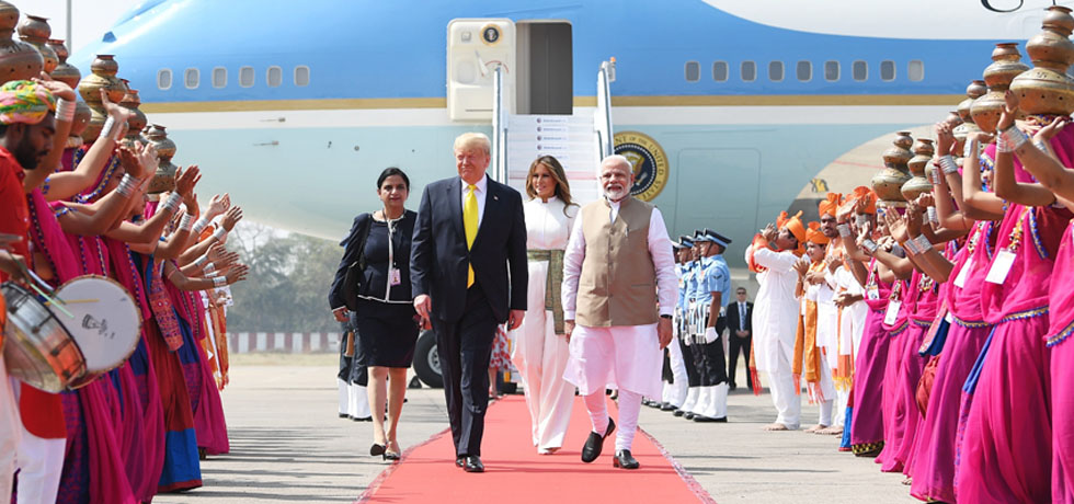 Donald J. Trump, President of the United States of America arrives in Ahmedabad on his State Visit to India