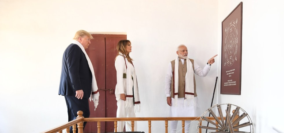 Donald J. Trump, President of the United States of America visits Sabarmati Ashram in Ahmedabad on his State Visit to India
