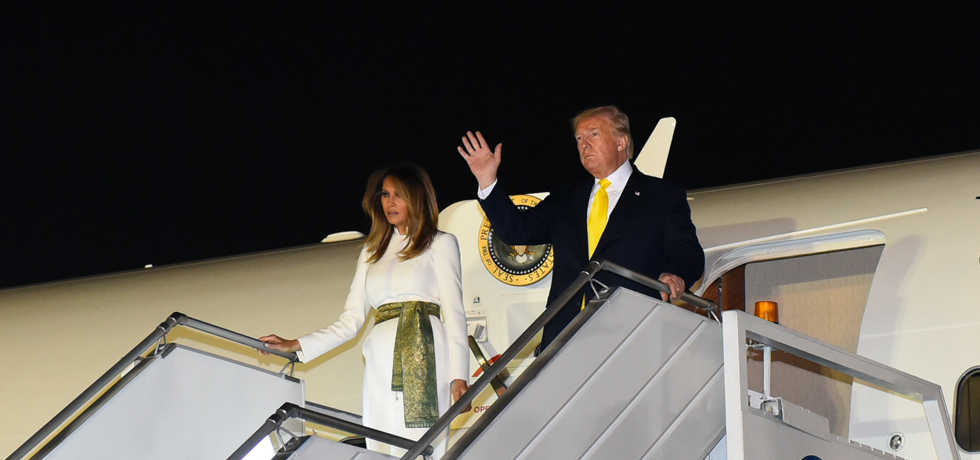 Donald J. Trump, President of the United States of America arrives in New Delhi during his 2-day State Visit to India