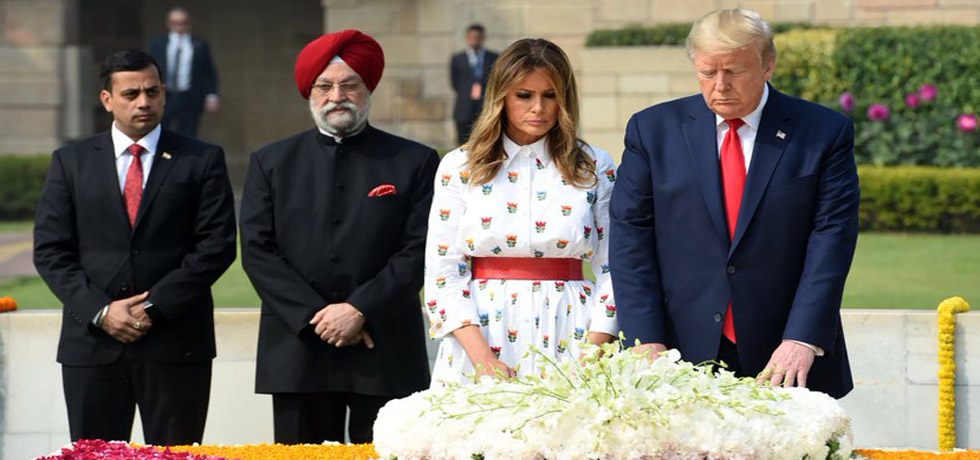 Donald J. Trump, President of the United States of America and Melania Trump, the First Lady of US pay homage at the Samadhi of Mahatma Gandhi at Rajghat, New Delhi