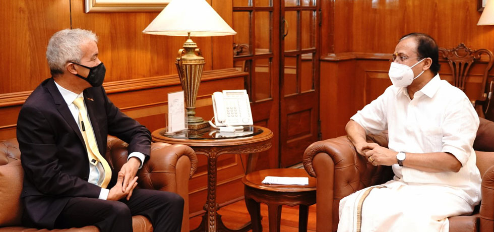 Minister of State for External Affairs meets Nejmeddine Lakhal, Ambassador of Tunisia to India in New Delhi